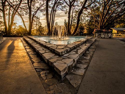 trees sunset fountain shadows hdr topaz lightroom wayfarerschapel ranchopalosverdes