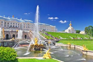 Gran cascada en Pertergof, San Petersburgo.