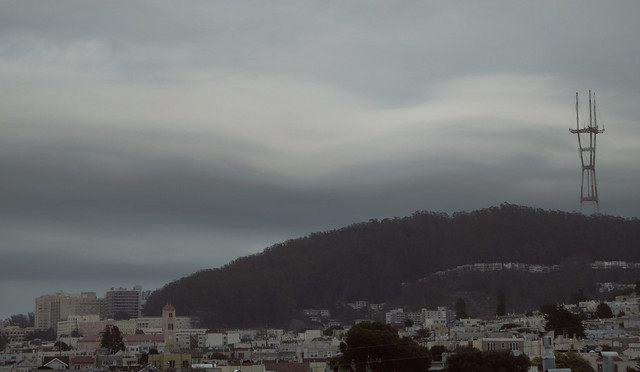 Sutro Tower and grey cloud cover, from 26th Avenue, The sunset; San Francisco 2014