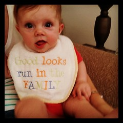 Sporting her new bib, a lovely gift from dear friends! #socute #mybeautifulbaby