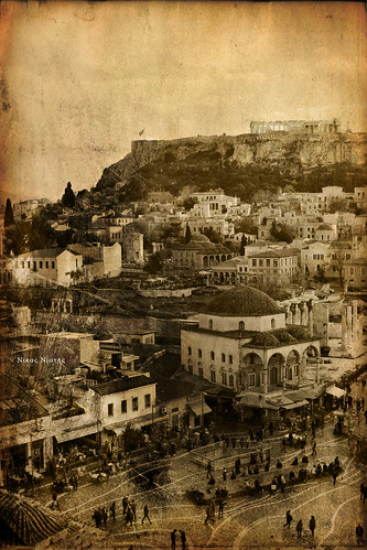 new old houses people archaeology sepia architecture square greek ancient europe roman traditional churches center mosque athens medieval parthenon greece plaka historical ottoman balkans multicultural monuments acropolis civilizations byzantine cultural agora attica athenian monastiraki tzitzarakis