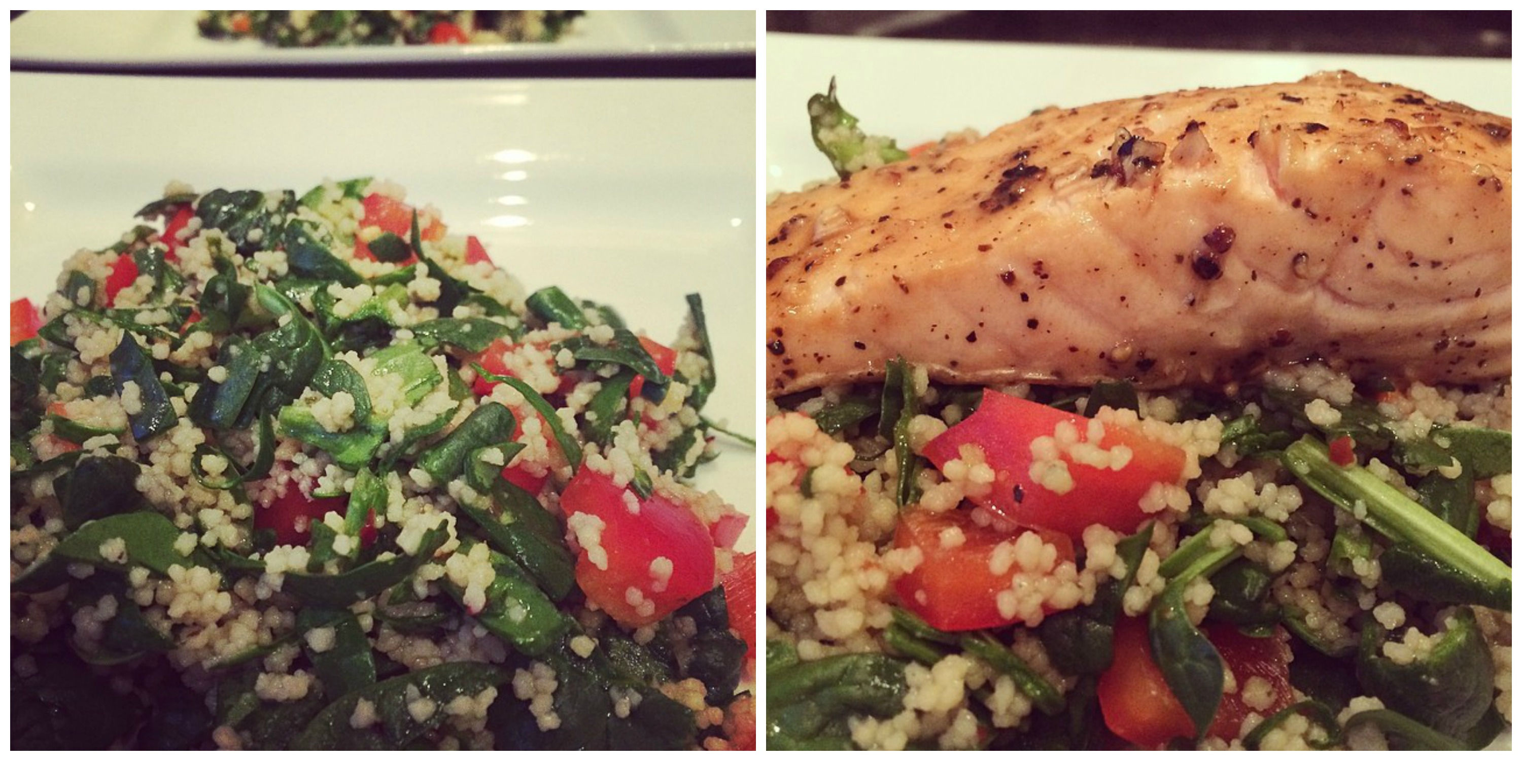 Warm spinach & cous cous salad w/ lemon, honey & chilli dressing and lemon pepper salmon fillet