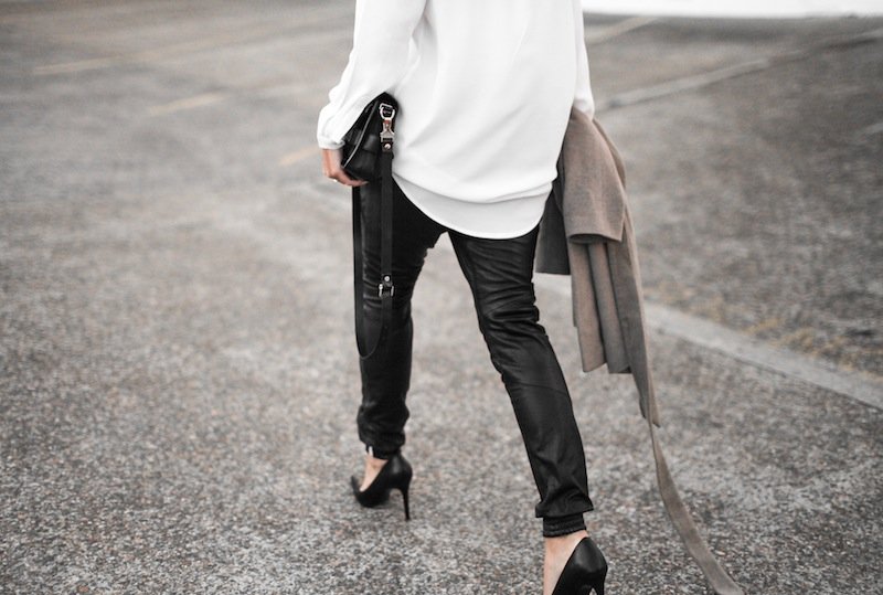 modern legacy blog street style leather pants One Teaspoon trackies Zara camel coat oversized white shirt Blessed Are The Meek Diavolina pointed pumps Proenza Schouler PS 11 Mini bag fashion blogger ootd workwear spring (2 of 6)