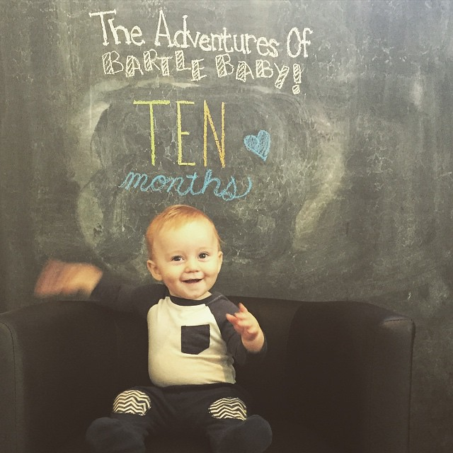 This month in #BartleBaby news - our little buddy is getting teeth like crazy, he's really started to enjoy solids, and is very eager to walk. He stands up and cruises on furniture and will let go, but if he notices that he is hands free he gets scared an