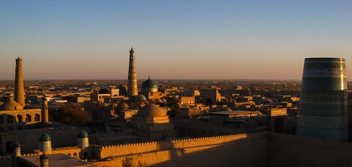 sunset panorama sonnenuntergang unesco silkroad kati khiva usbekistan abendlicht xiva canondigitalixus950is oasenstadt seidenstrase museumsstadt