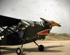 L4 Piper Cub - Military Observation Plane with Flying Tiger Nose Art - Vintage Color Slide