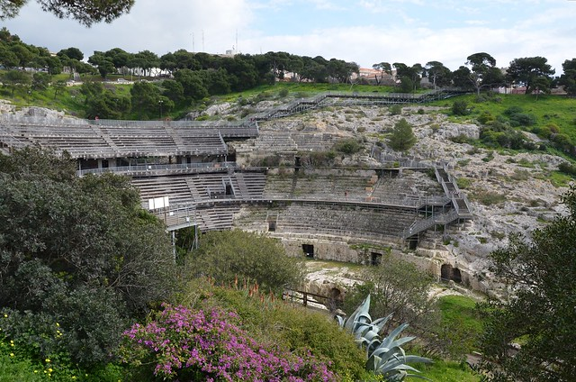 Roman amphitheatre, half carved in the rock in the 2nd century AD, Caralis (Cagliari), Sardinia