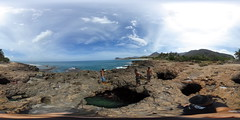 Boys about to jump into the Lava Seacaves in Nanakuli - a 360 degree equirectangular VR