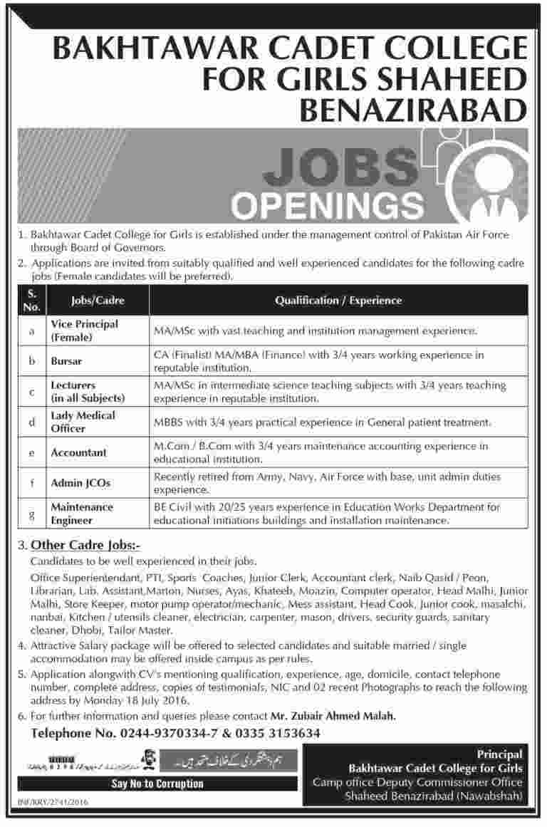 Bakhtawar Cadet College for Girls Jobs