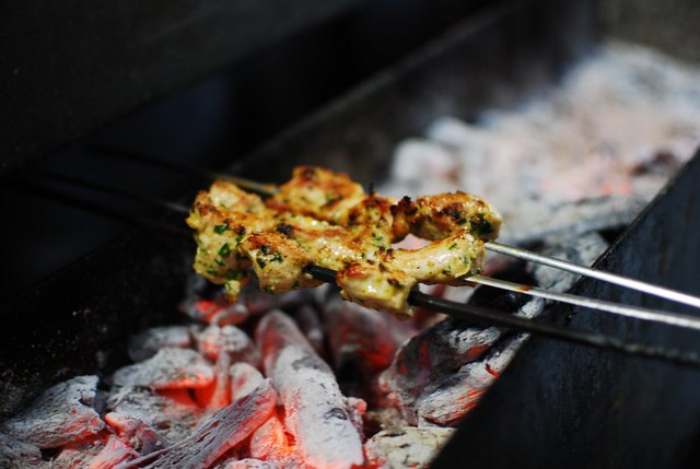 Kebabs at a street side cafe in Marrakech