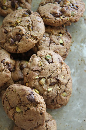 Chocolate, Espresso and Pistachio Cookies