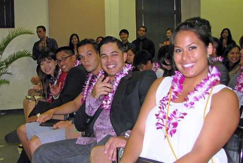 "<p>School of Travel Industry Management graduates Chi Wai Chan, Alvin Castro, Lazar Bogdanovski, August ""Kino"" Belden and Nerine Asbel at the school's graduation ceremony.</p>"