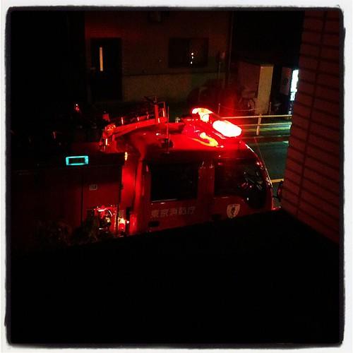 3台くらい消防車きた。家の目の前。うち…?