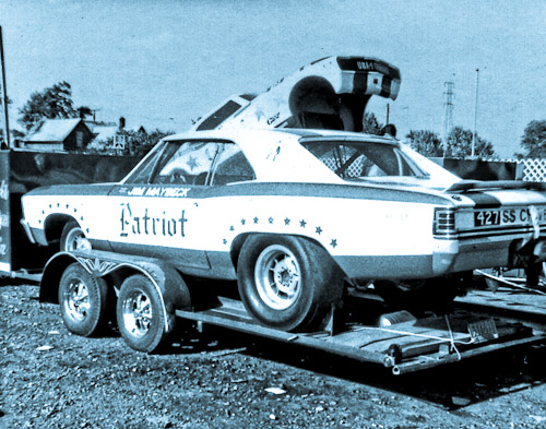 Jim Maybeck's Patroit Chevelle on trailer