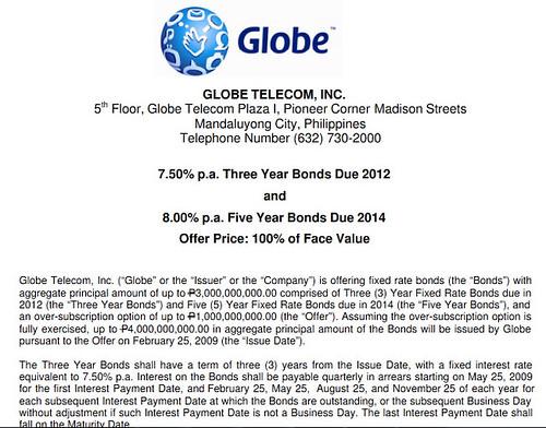 Globetel bonds