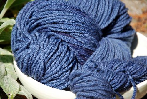 Handdyed Columbia wool handspun yarn with logwood
