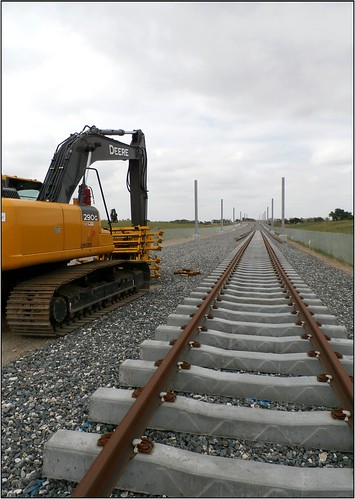 Photo of installation of track on East Rail Line