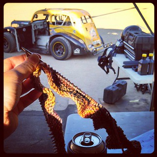 #knitting and #racing #uslegends #raceday