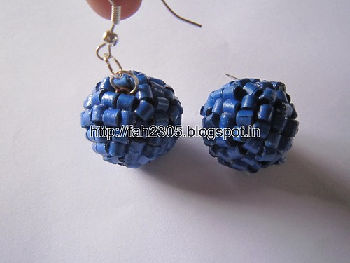 Handmade Jewelry - Paper Quilling Horizontal Beads Globe Earrings (2) by fah2305