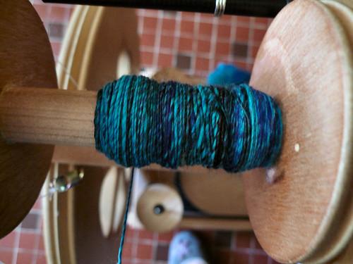 Turquoise_blue fibre on bobbin