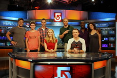 The cast of THE POWER OF DUFF at WCVB Channel 5: Joe Paulik, Noah Galvin, Ben Cole, Jennifer Westfeldt, Brendan Griffin, David Wilson Barnes, Russell G. Jones, and Amy Pietz (l-r). Photo: Huntington Theatre Company