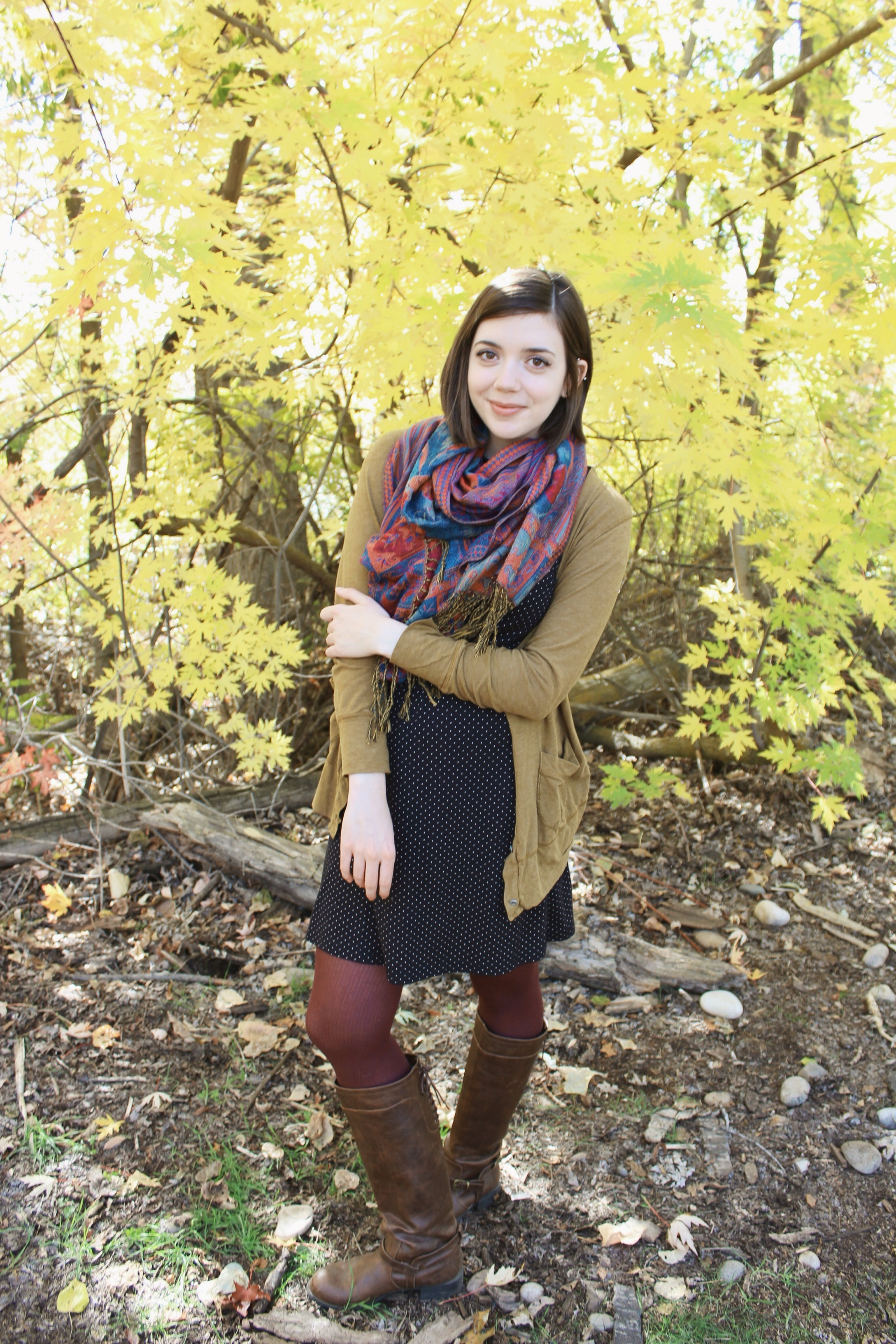 fall leaves and polka dots