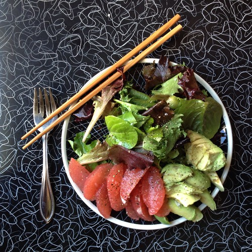 Salad with chopsticks