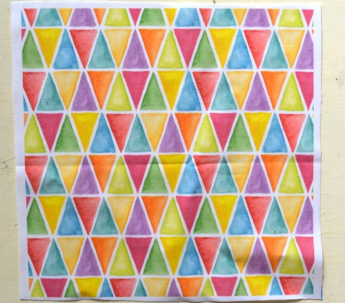 hand painted geometric fabric