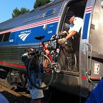 This is a photograph of an Amtrak 'Bikes on the Train' event.