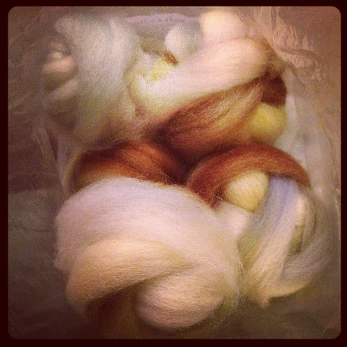Spin365.29 wool prep....a bag of wool bundles ready for the wheel