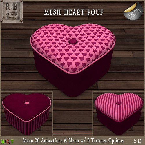 NEW ! *RnB* Mesh Heart Pouf (20 Anims) - Pink Valentine