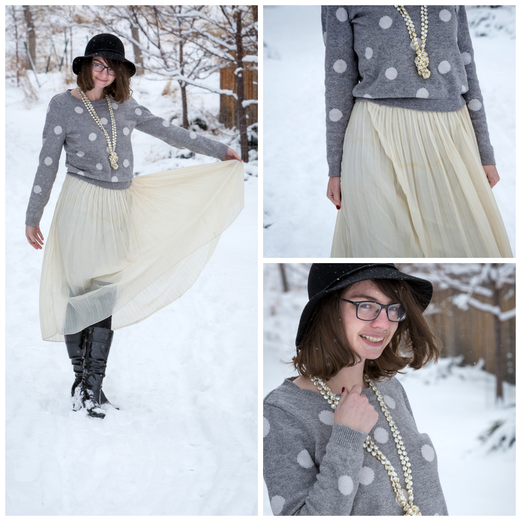 polka Dot, Sweater, pearl necklace, slouchy outfit, wyoming, never fully dressed, withoutastyle,