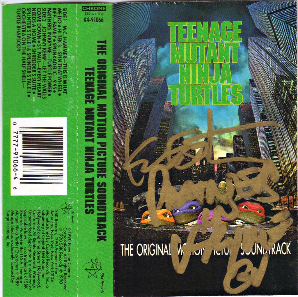 TEENAGE MUTANT NINJA TURTLES: THE ORIGINAL MOTION PICTURE SOUNDTRACK; Cassette Tape // Signed by Partners in Kryme's RICHARD USHER & KEVIN EASTMAN ii (( 1990 )) by tOkKa