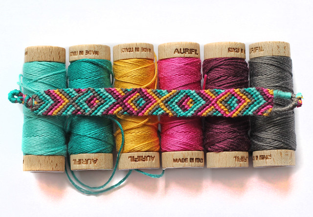 aurifil floss friendship bracelet