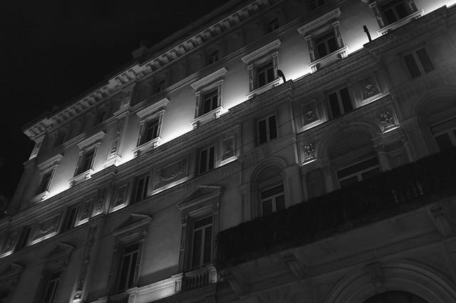 Nighttime in Via Giuseppe Mengoni, Milan, Italy