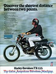 1973 Harley-Davidson TX-125 Advertisement Hot Rod August 1973
