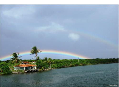 luz praia mar palmeiras céu arcoíris nuvem horizonte coqueiros