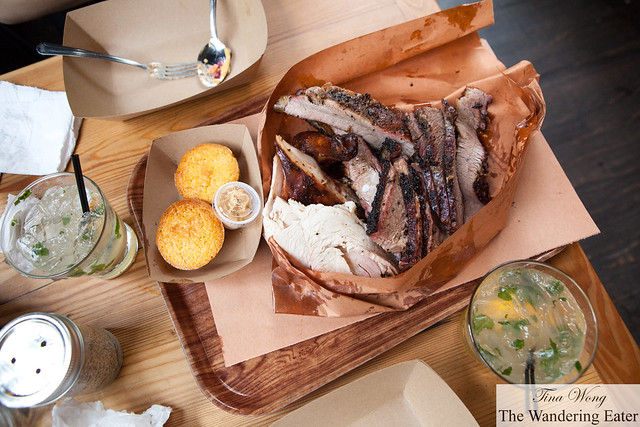 Our first meat platter with a side of cornbread and spiced butter and Smoked orange margaritas