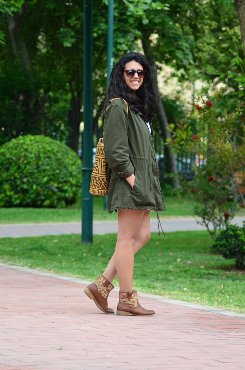 florenciablog green parka zara stradivarius look beig bolso hippie mochila gandia fashion style (7)
