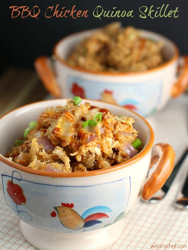 BBQ Chicken Quinoa Skillet in two bowls.