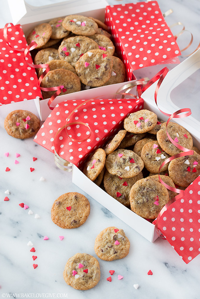 Itty Bitty Valentine Chocolate Chip Cookies Bake Love Give