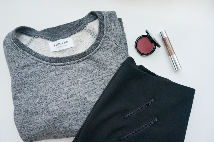 bespectacled, life, lately, new in, Everlane Grey Marled Sweatshirt, Madewell Ignition Skirt, Clinique Chubby Stick for Eyes Lots O' Latte, Make Up For Ever HD Blush 310