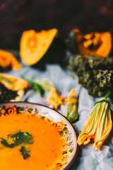 Traditional pumpkin soup with seeds