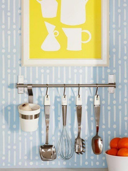 Rods with hooks can be a great storage solution for every kitchen