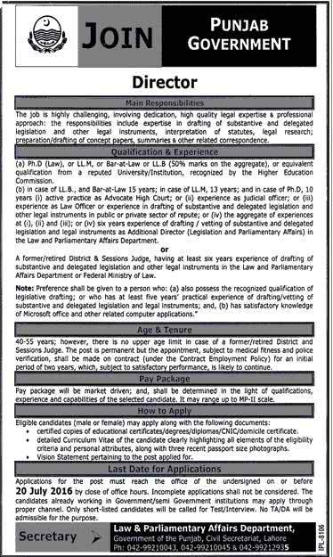 Govt of Punjab Law and Parliamentary Affairs Department Director Required