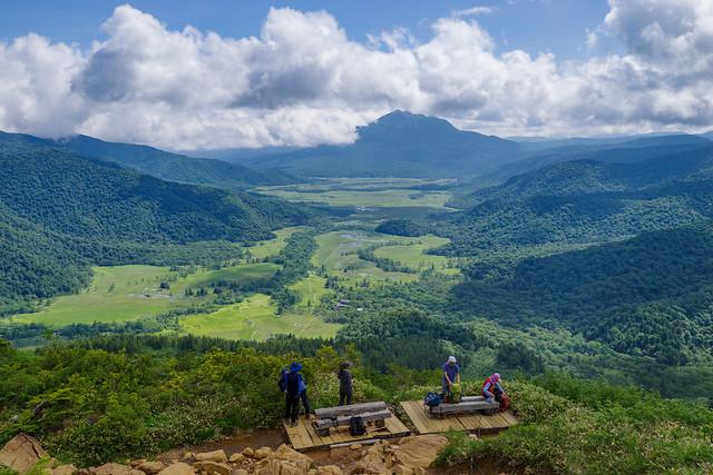 尾瀬ヶ原と燧ケ岳を展望@高天ヶ原手前のベンチ