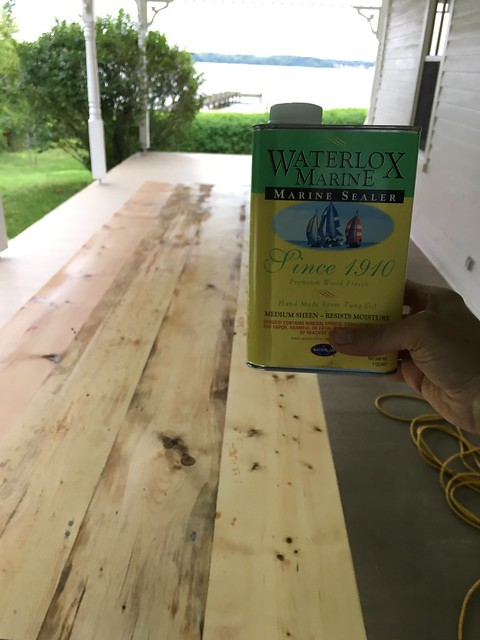 Using Marine Waterlox to Refinish Our Outdoor Dining Table - Old