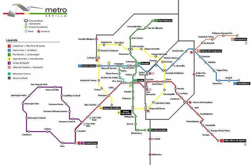 Mapa Metro Sevilha