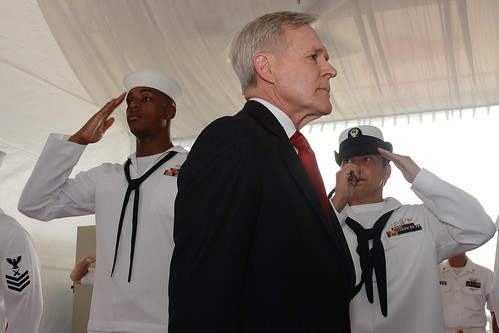 Sideboys assigned to USS Freedom (LCS1) salute SECNAV Ray Mabus during the SECNAV's visit to the ship.