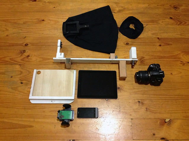 The complete ARIG kit with iPad, mobile phone, DSLR and light sock components.